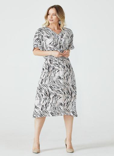 Sementa Yarım Düğmeli Desenli Kadın Elbise - Siyah - Vizon Siyah